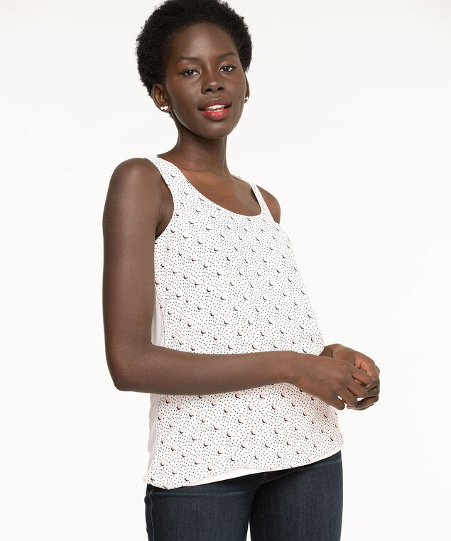 Dotted Sleeveless Mixed Media Top, Pearl/Rose/Black