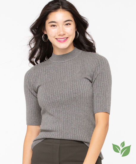 EcoVero™ Mock Neck Sweater, Grey, hi-res