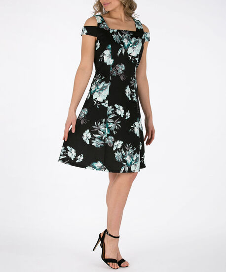 Floral Cold Shoulder Scuba Dress, Black/Emerald/Grey, hi-res