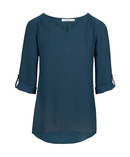 Roll-Tab V-Neck Blouse, Midnight Teal, hi-res