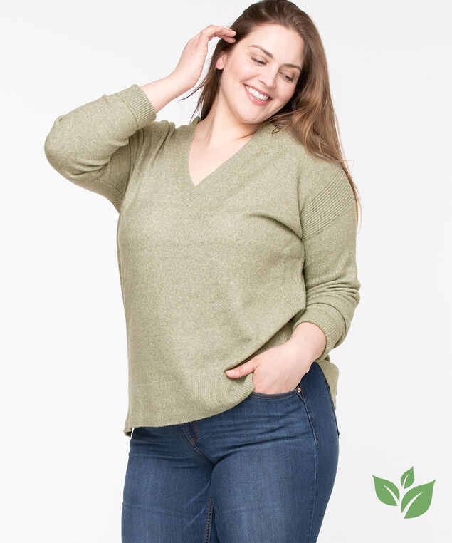 Eco-Friendly V-Neck Sweater, Fog Green