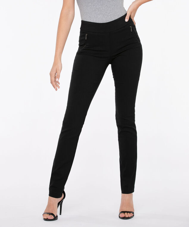 Microtwill Pull On Slim Leg, Black, hi-res