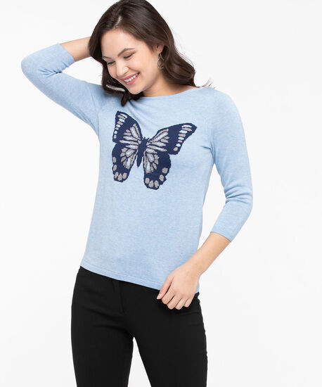Intarsia Butterfly Boatneck Sweater, Sky Blue/Summer Navy, hi-res