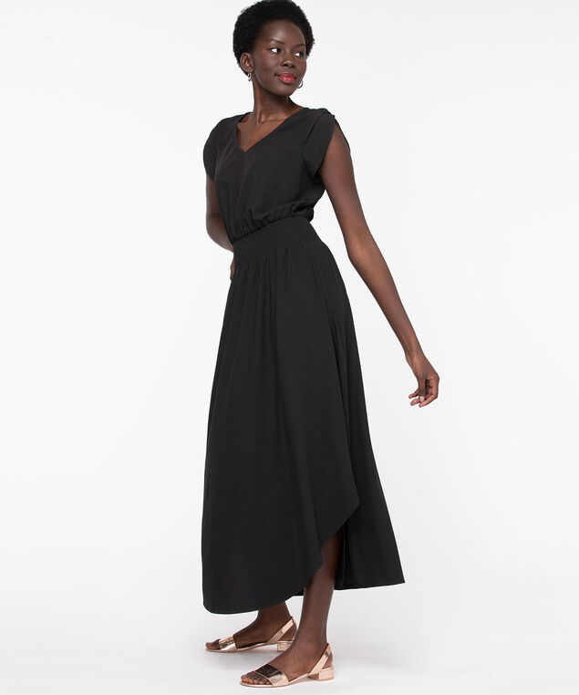 Tulip Sleeve V-Neck Long Dress, Black
