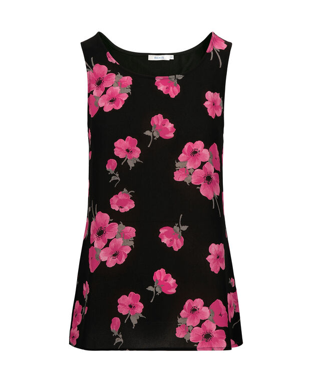 Scoop Neck Sleeveless Top, Black/Pink/Grey, hi-res