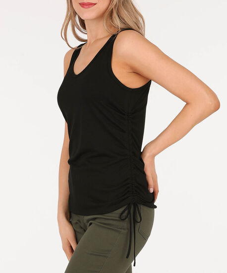 Sleeveless Cross Back Ruched Top, Black, hi-res