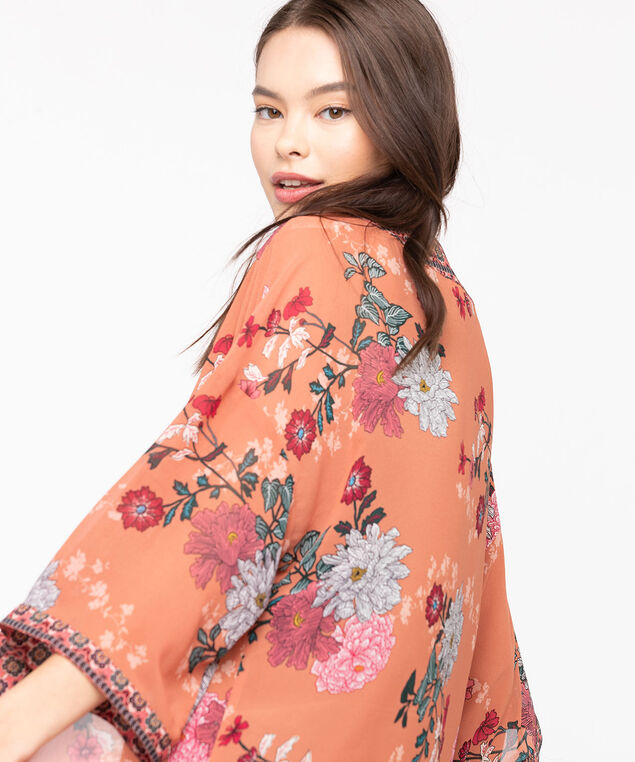 Border Floral Print Ruana, Sherbert/Strawberry/Turquoise, hi-res