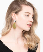 Large Stone & Molten Disc Earring, Rhodium/Olive, hi-res