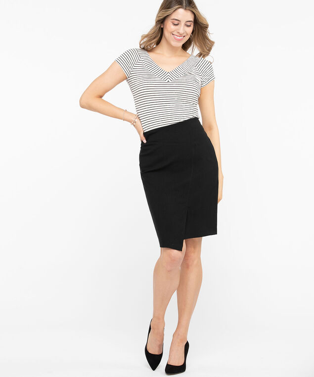 Asymmetrical Microtwill Pencil Skirt, Black, hi-res