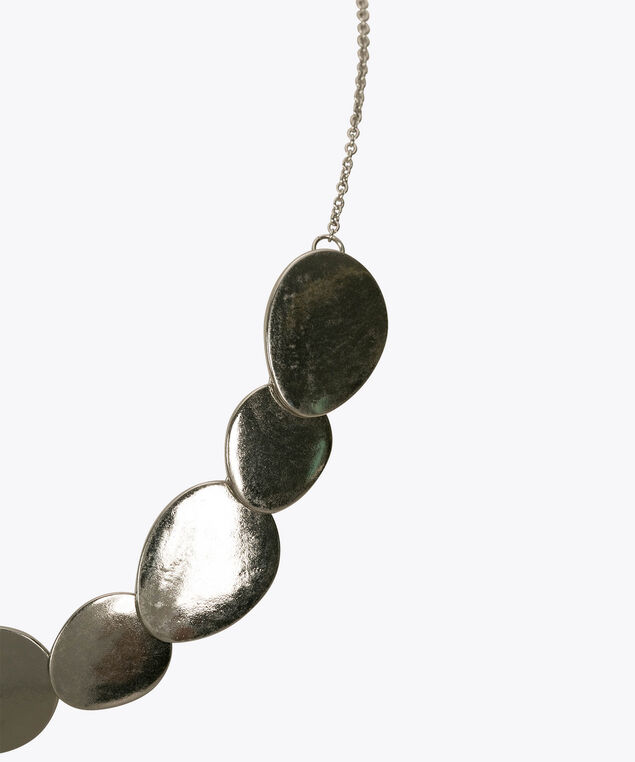 Metal Teardrop Statement Necklace, Rhodium, hi-res