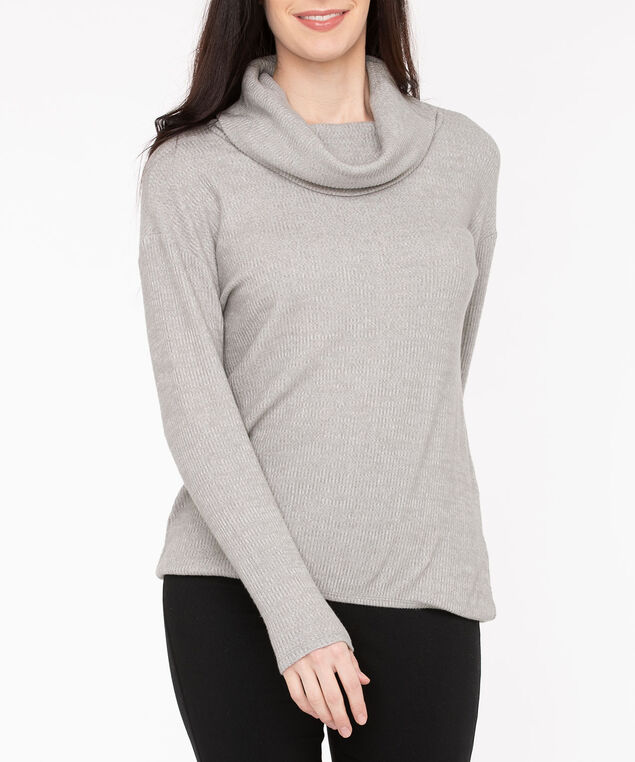 Cowl Neck Bubble Hem Top, Light Heather Grey, hi-res