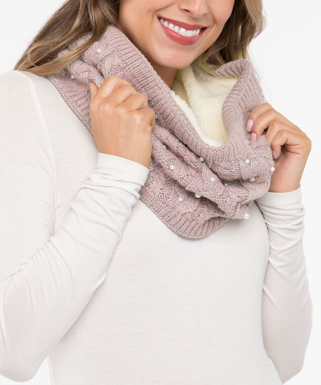 Chunky Cable Knit Snood Scarf, Dusty Pink/Pearl, hi-res
