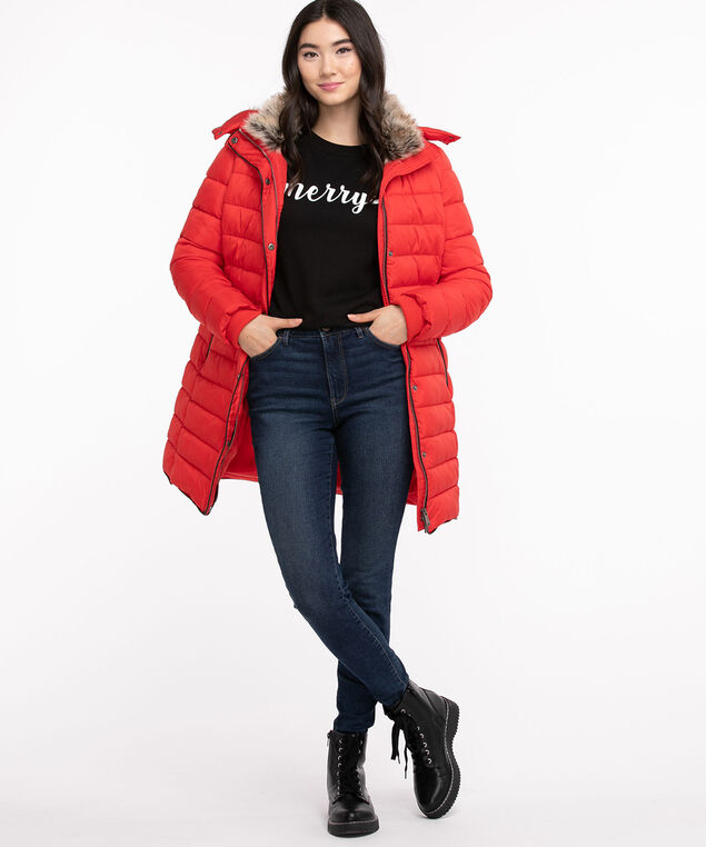 Mid Length Puffer Jacket, Ribbon Red