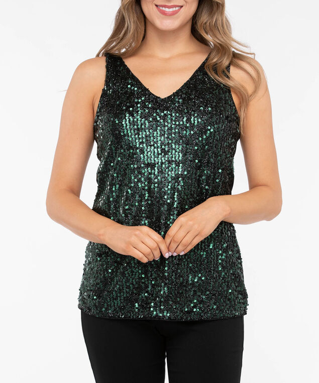Sleeveless Sequin V-Neck Top, Deep Green/Black, hi-res