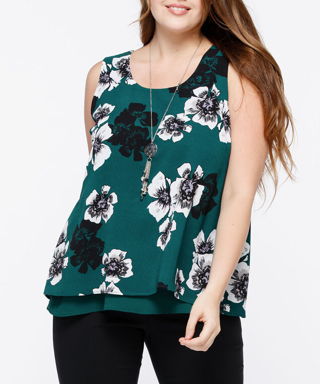 Sleeveless Layered Flyaway Blouse, Ivy/Pearl/Black/Mauve, hi-res
