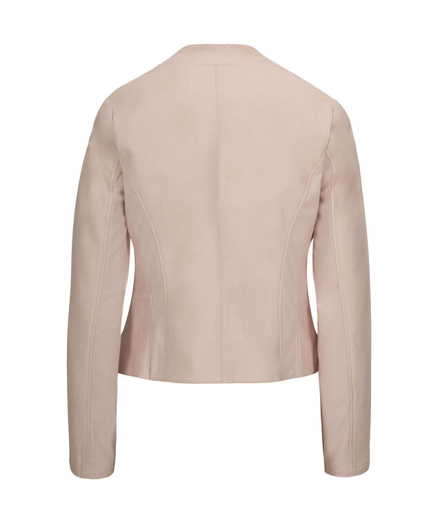 Faux Leather Open Front Blazer, Iced Peach, hi-res