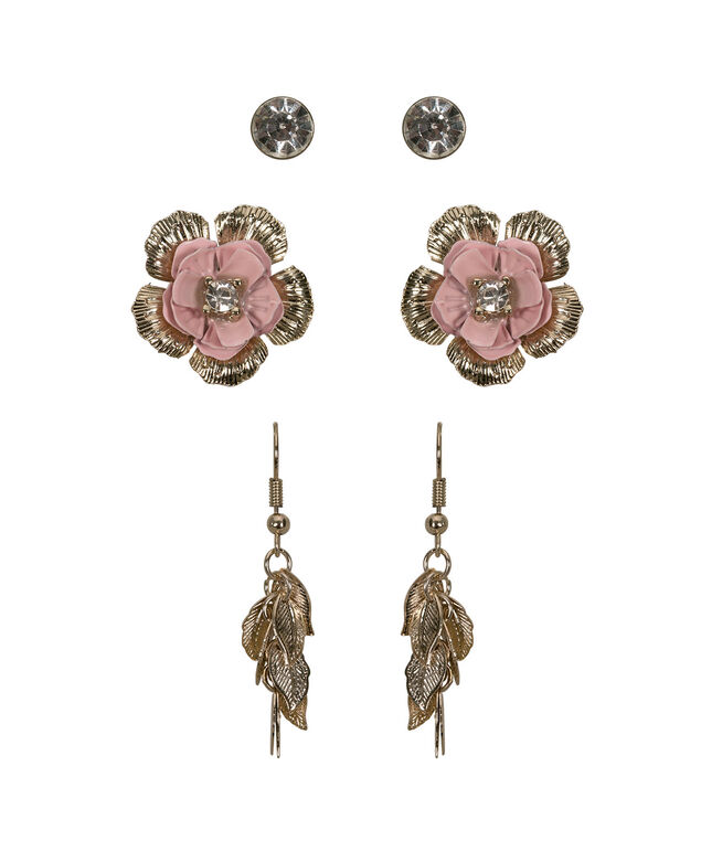 Earring Trio Set, Iced Pink/Soft Gold, hi-res