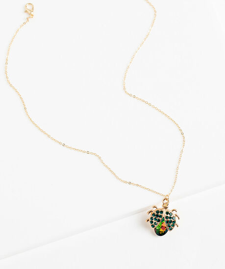 Jewelled Beetle Necklace, Gold, hi-res
