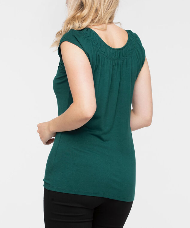 Smocked Neck Extended Sleeve Tee, Ivy, hi-res
