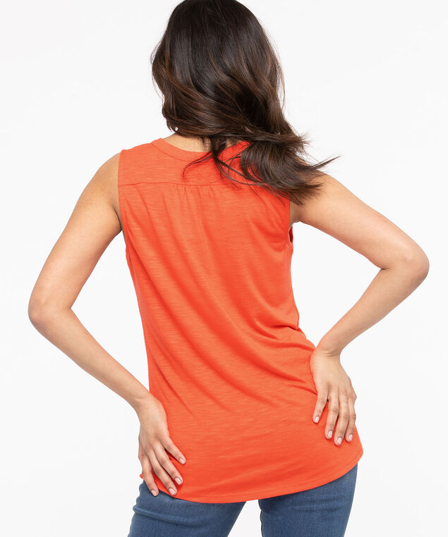Sleeveless Henley Knit Top, Orange, hi-res