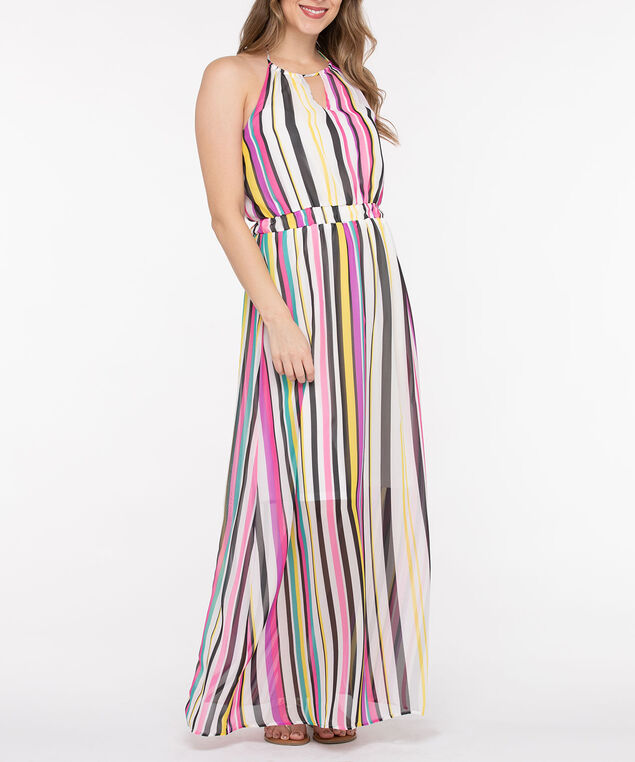 Striped Halter Maxi Dress, Black/Bright Pink/Yellow/White, hi-res