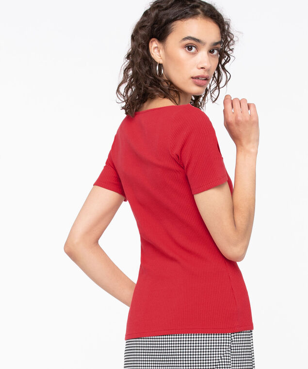 Short Sleeve Scoop Neck Top, Hibiscus, hi-res