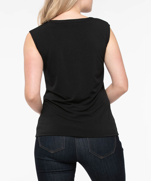 Sleeveless Pleather Trim Top, Black, hi-res