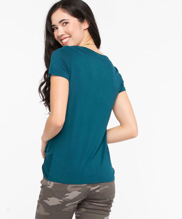 Knot Front Short Sleeve Top, Midnight Teal, hi-res
