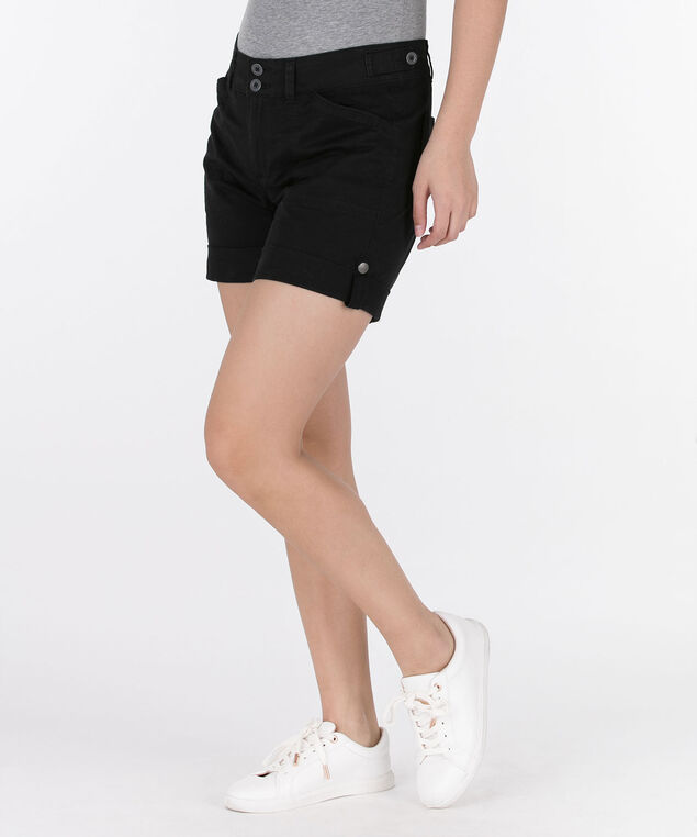 Twill Roll-Cuff Short, Black, hi-res