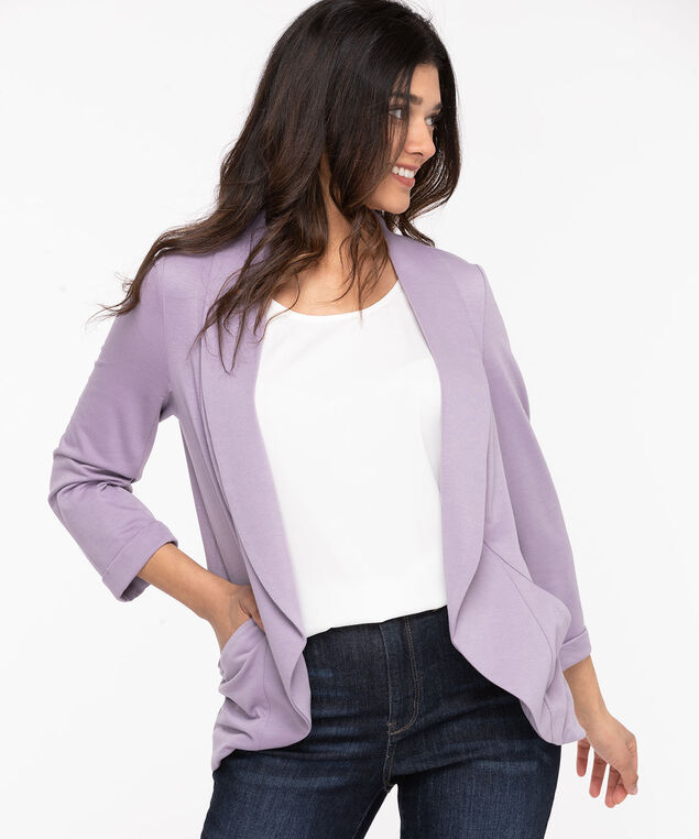 Terry Shawl Collar Cover Up, Purple Ash