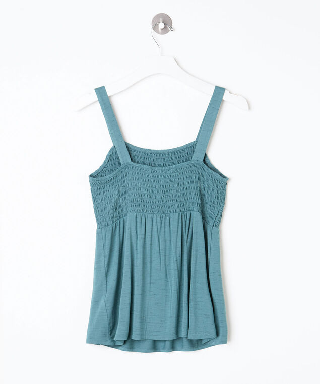 Sleeveless Smocked Peplum Top, Turquoise, hi-res