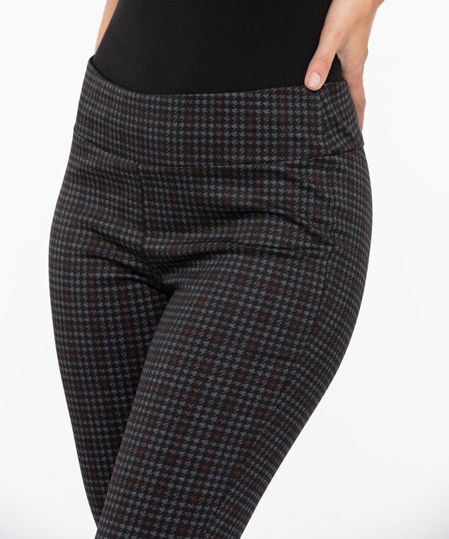 Houndstooth Ponte Legging, Black/Burgundy/Grey, hi-res