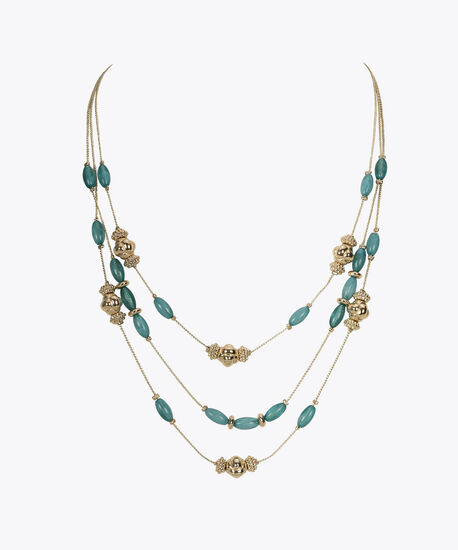Stationed Bead & Stone Necklace Set, Gold/Tropical Teal, hi-res