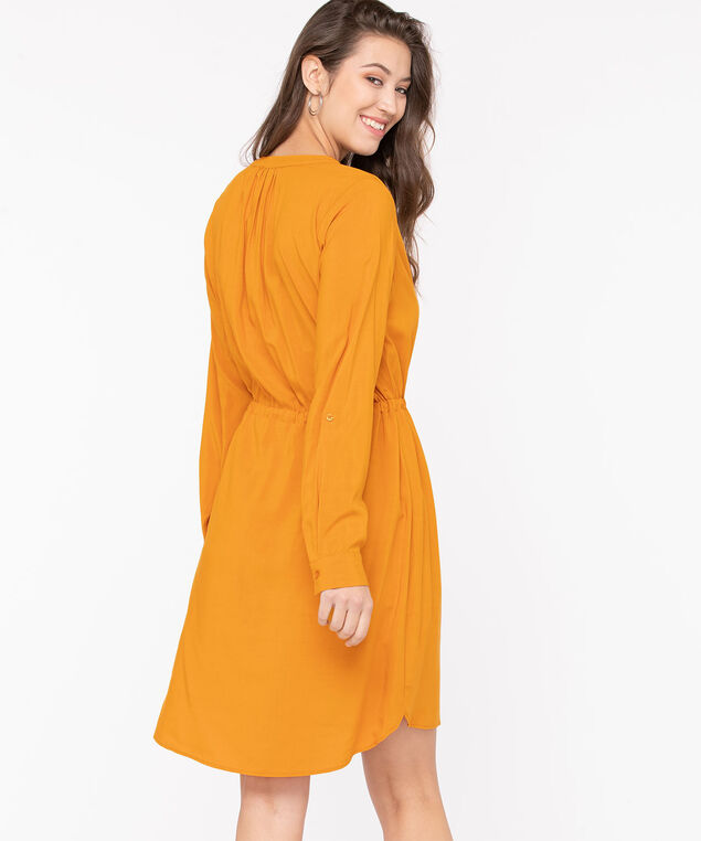 Roll Tab Sleeve Shirt Dress, Gold, hi-res
