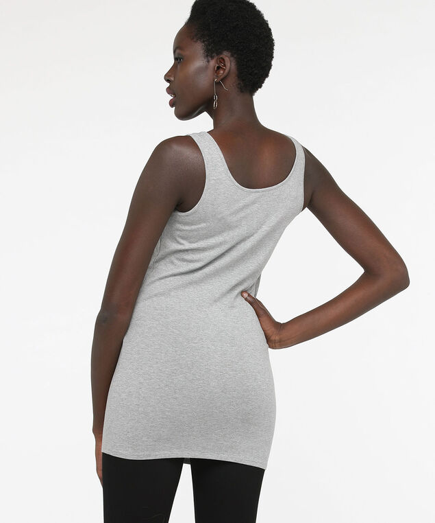 Tunic Length Cami, Light Heather Grey, hi-res