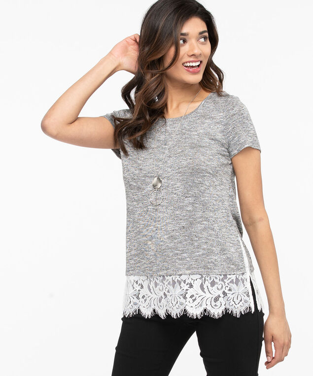 Short Sleeve Fooler Hem Top, Heathered Grey/Pearl, hi-res