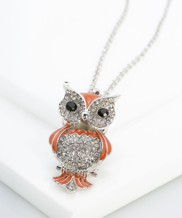 Painted Crystal Owl Pendant Necklace, Rhodium/Black/Chili, hi-res