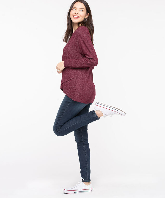 Tulip Hem Lightweight Knit Top, Windsor Wine, hi-res