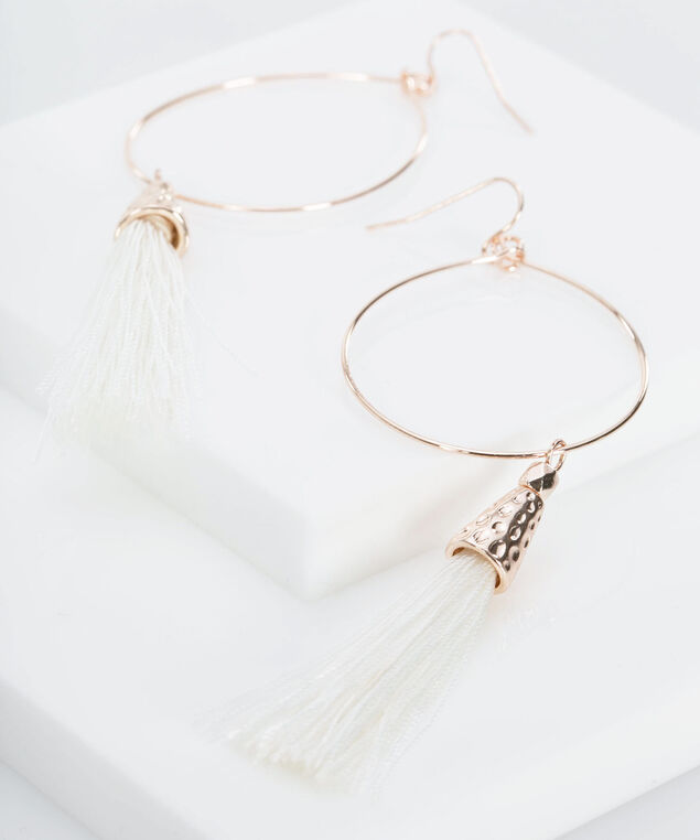Hammered Metal & Tassel Earring, Rose Gold/True White, hi-res
