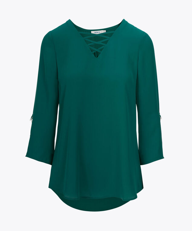 Cross Front Roll Sleeve Blouse, Emerald, hi-res