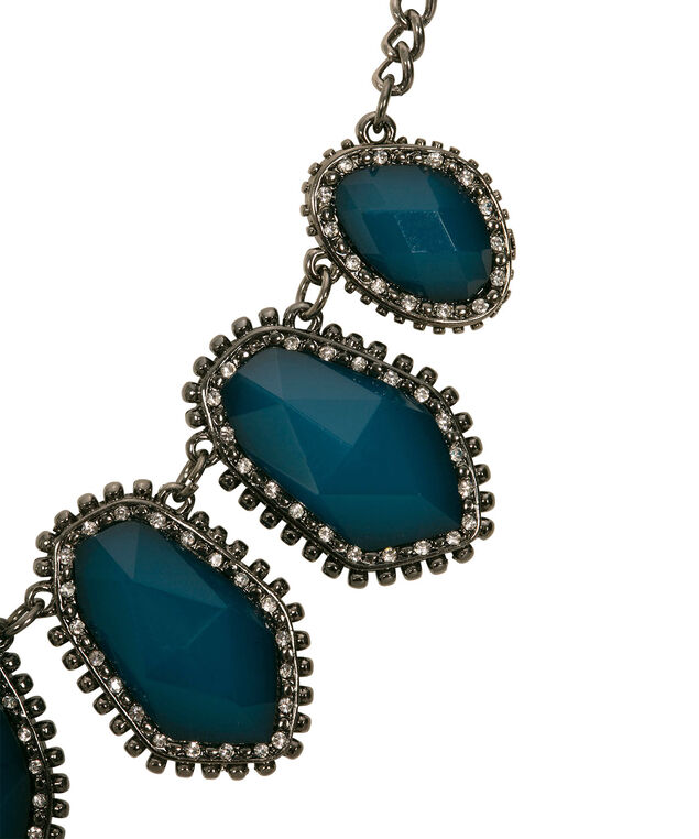 Faceted Stone Statement Necklace, Teal/Burnished Silver, hi-res
