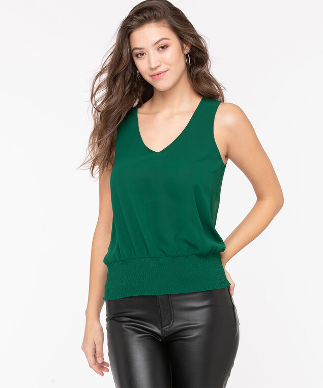 Sleeveless V-Neck Smocked Blouse, Emerald, hi-res
