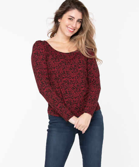 Eco-Friendly Puff Sleeve Top, Poppy Red/Black Floral, hi-res
