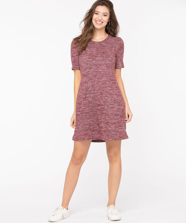 Lightweight Knit Short Sleeve Dress, Windsor Wine Mix, hi-res