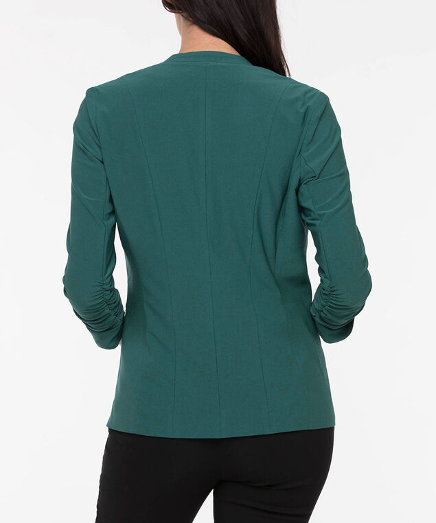 Ruched Easy Stretch Blazer, Ivy, hi-res