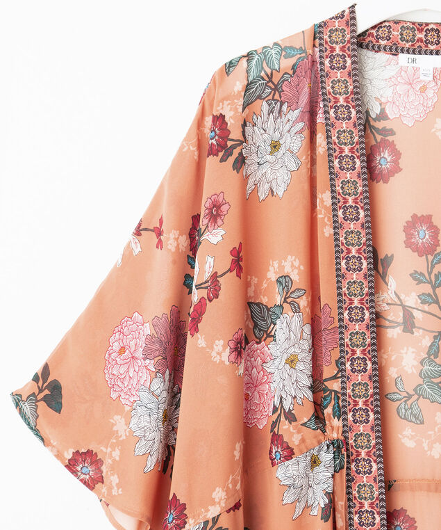 Border Floral Print Tie Waist Ruana, Sherbert/Strawberry/Turquoise, hi-res