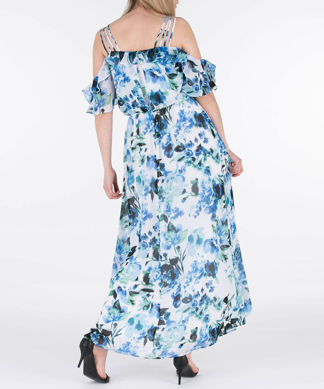 Cold Shoulder Chiffon Maxi Dress, White/Blue/Green, hi-res