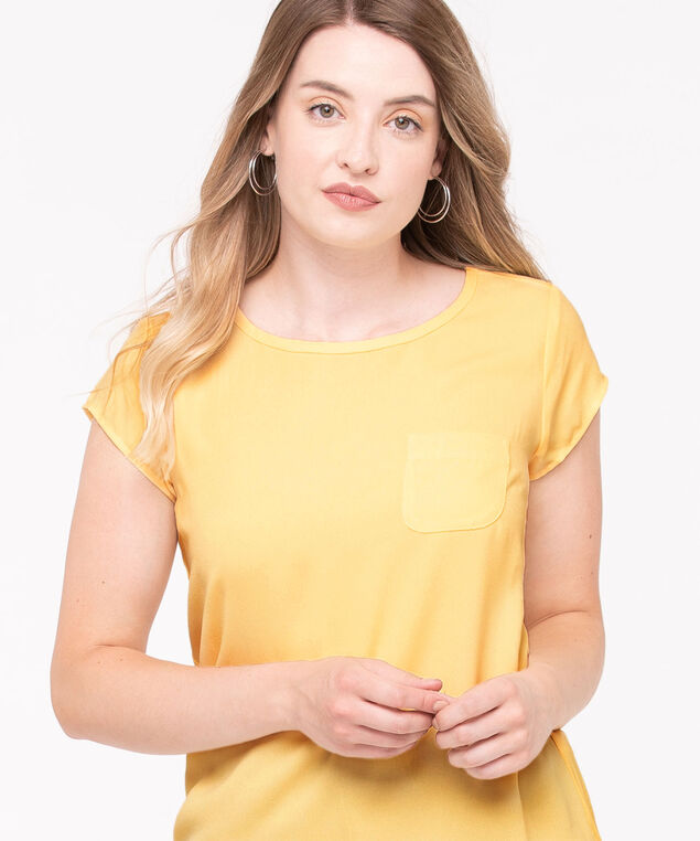 Mixed Media Pocket Front Top, Yellow, hi-res
