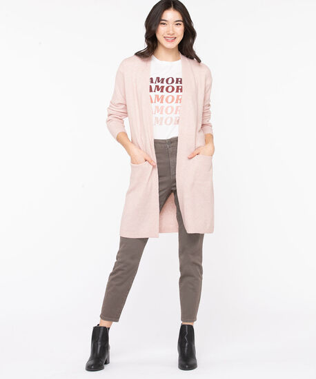 Soft Open Front Duster Cardigan, Rose Smoke, hi-res