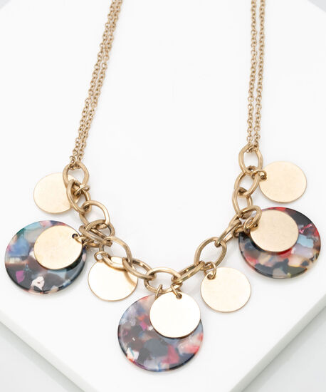 Metal & Resin Statement Necklace, Multi Color, hi-res